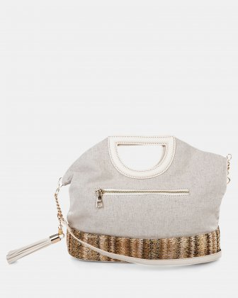 Carita - Handle bag in Canvas & straw trims with Protective baguette feet - Bone - Céline Dion
