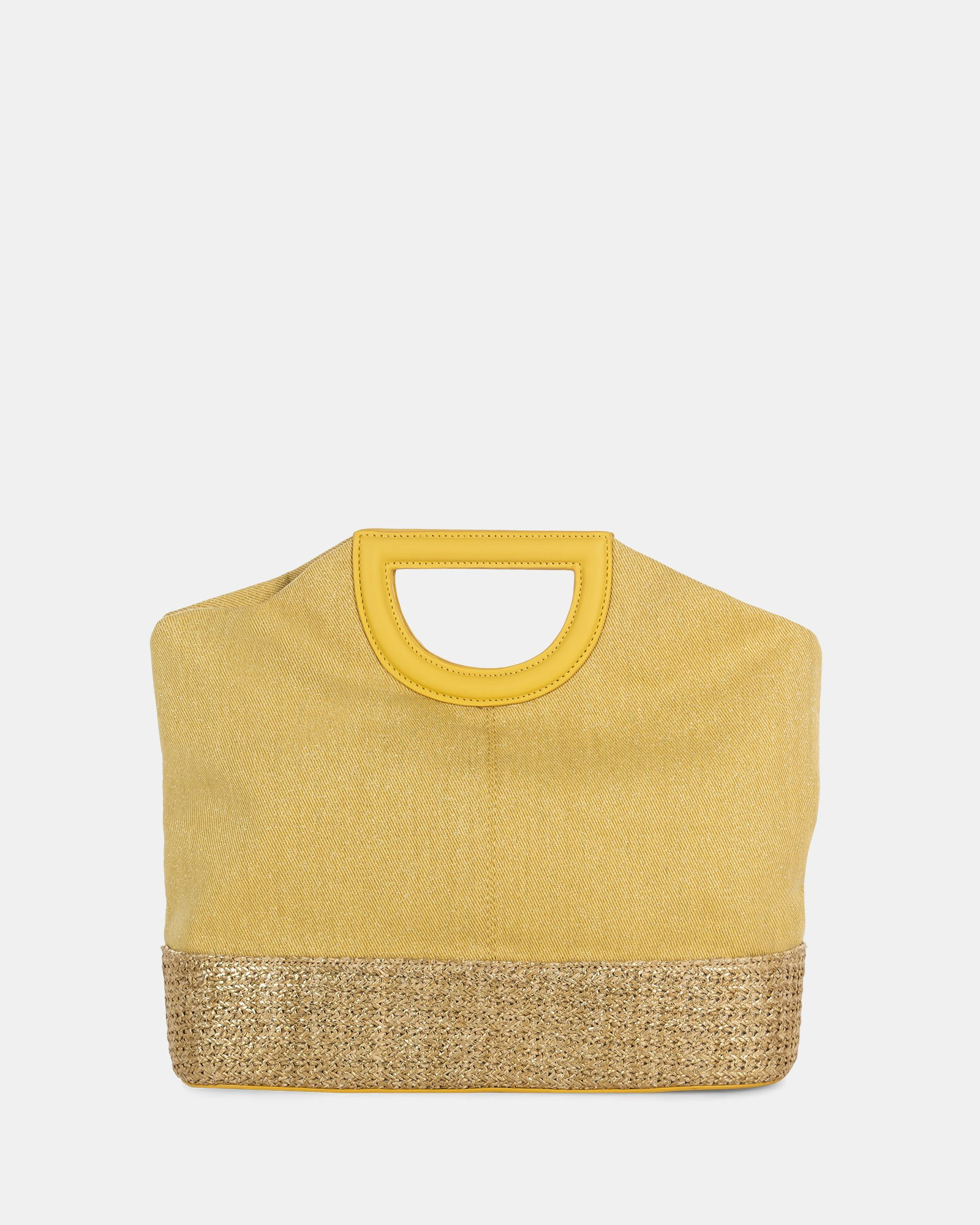 Carita - Handle bag in Canvas & straw trims with Protective baguette feet - yellow - Céline Dion - Zoom