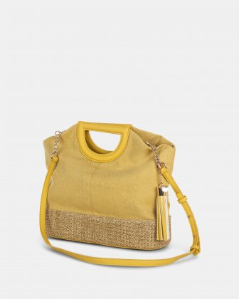 Carita - Handle bag in Canvas & straw trims with Protective baguette feet - yellow Céline Dion