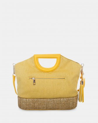 Carita - Handle bag in Canvas & straw trims with Protective baguette feet - yellow - Céline Dion
