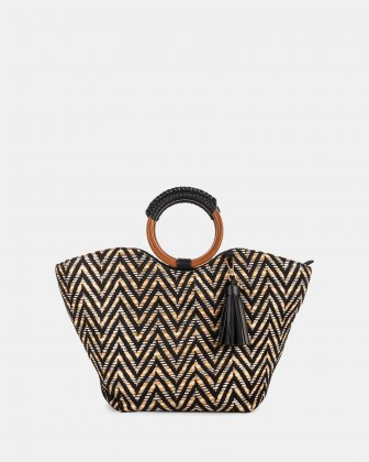 Piacevole - Handle bag Straw & leather-like trim - Black Céline Dion