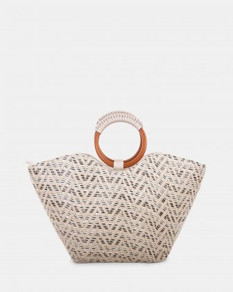 Piacevole - Handle bag Straw & leather-like trim - Natural Céline Dion