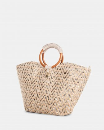 Piacevole - Handle bag Straw & leather-like trim - Natural - Céline Dion