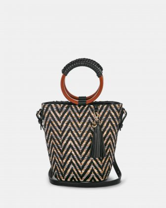 Piacevole - Handle bag (small) Straw & leather-like trim - Black Céline Dion