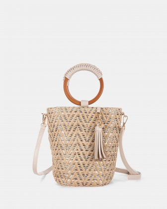Céline Dion Piacevole - Handle bag (small) Straw & leather-like trim - Natural