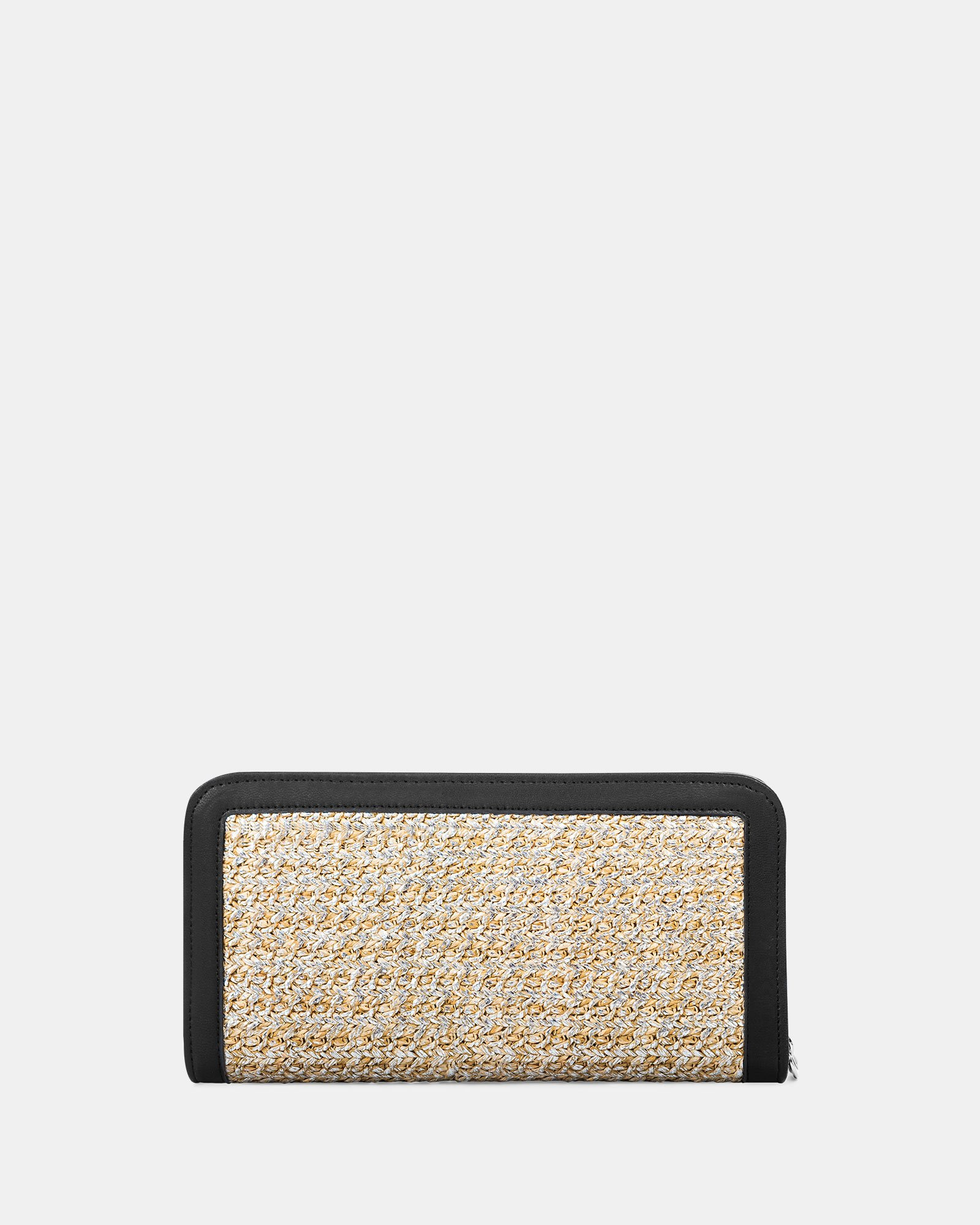 Carita - wallet with zip closure in Straw & leather-like trims -Natural/black - Céline Dion - Zoom