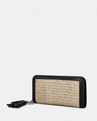 Carita - wallet with zip closure in Straw & leather-like trims -Natural/black Céline Dion