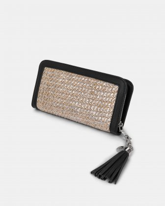 Carita - wallet with zip closure in Straw & leather-like trims -Natural/black - Céline Dion