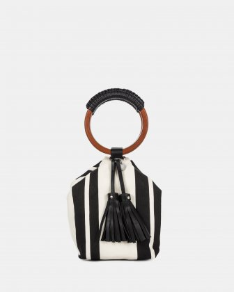 Svelto - Satchel bag with Protective baguette feet - Black/stripe Céline Dion