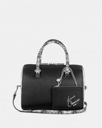 Duo - Satchel bowler bag with Adjustable and detachable crossbody strap - Black/Snake Céline Dion