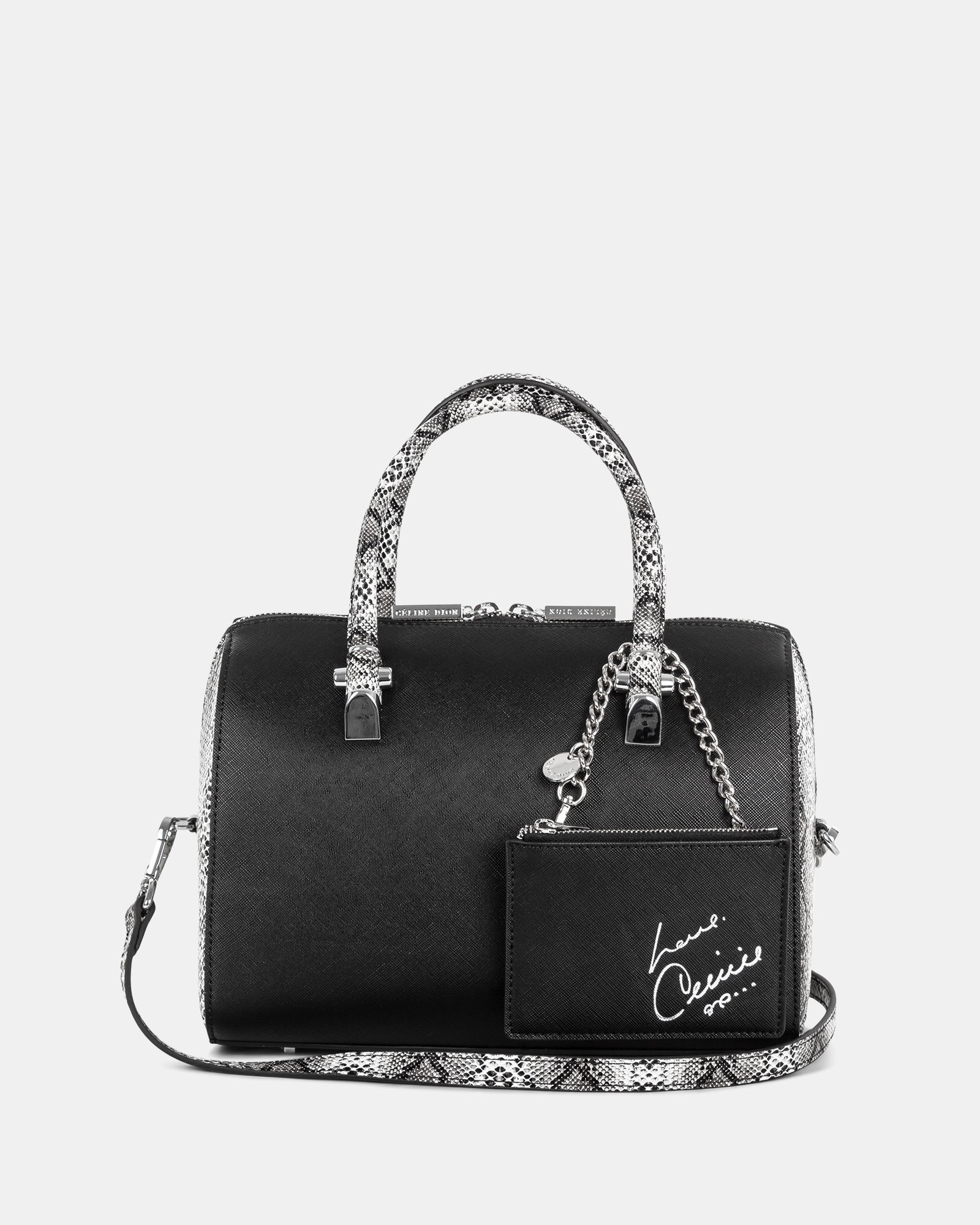 Duo - Satchel bowler bag with Adjustable and detachable crossbody strap - Black/Snake - Céline Dion - Zoom