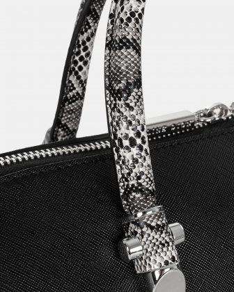 Duo - Satchel bowler bag with Adjustable and detachable crossbody strap - Black/Snake - Céline Dion