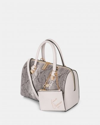 Duo - Satchel bowler bag with Adjustable and detachable crossbody strap - Blush/snake Céline Dion