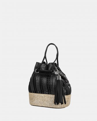 CARITA - Shoulder bag with Protective baguette feet - Black Céline Dion