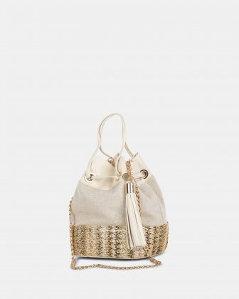 CARITA - Shoulder bag with Protective baguette feet - Bone Céline Dion
