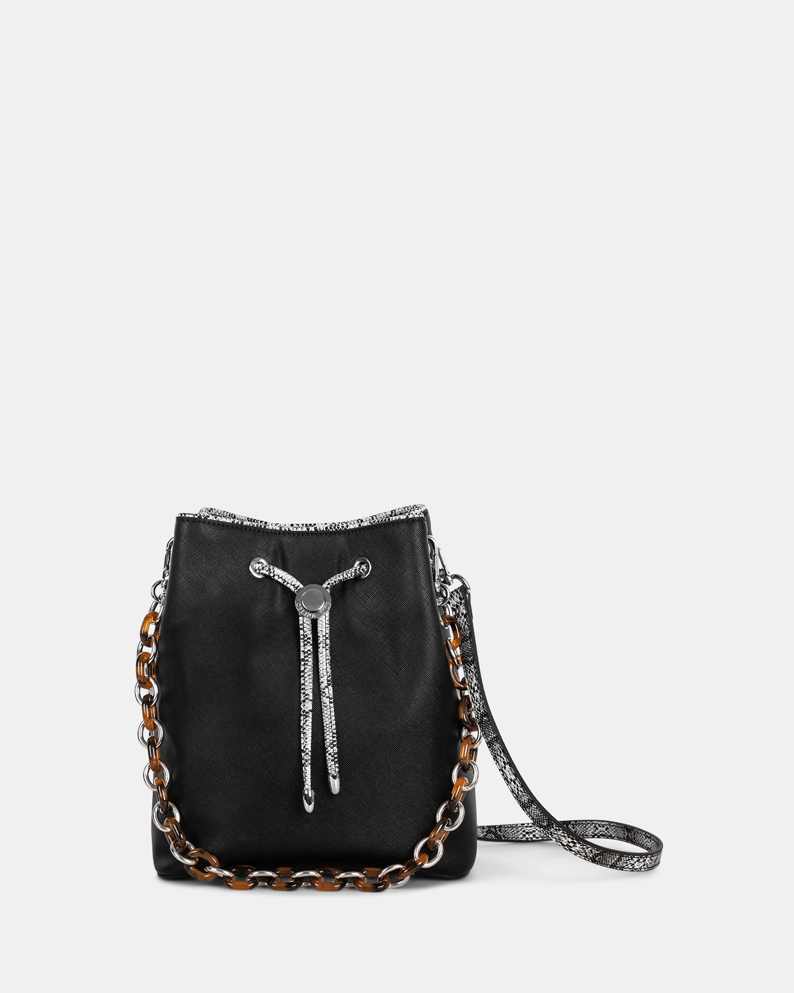 Duo - Satchel with adjustable and detachable crossbody strap - Black/snake - Céline Dion - Zoom