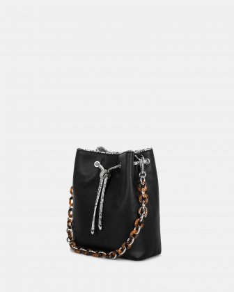 Duo - Satchel with adjustable and detachable crossbody strap - Black/snake Céline Dion