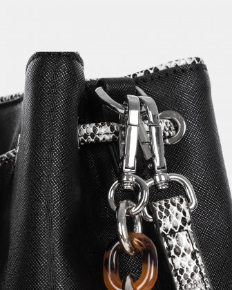 Duo - Satchel with adjustable and detachable crossbody strap - Black/snake - Céline Dion