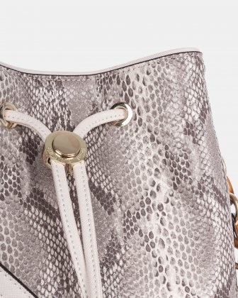 Duo - Satchel with Adjustable and detachable crossbody strap - Blush/snake - Céline Dion