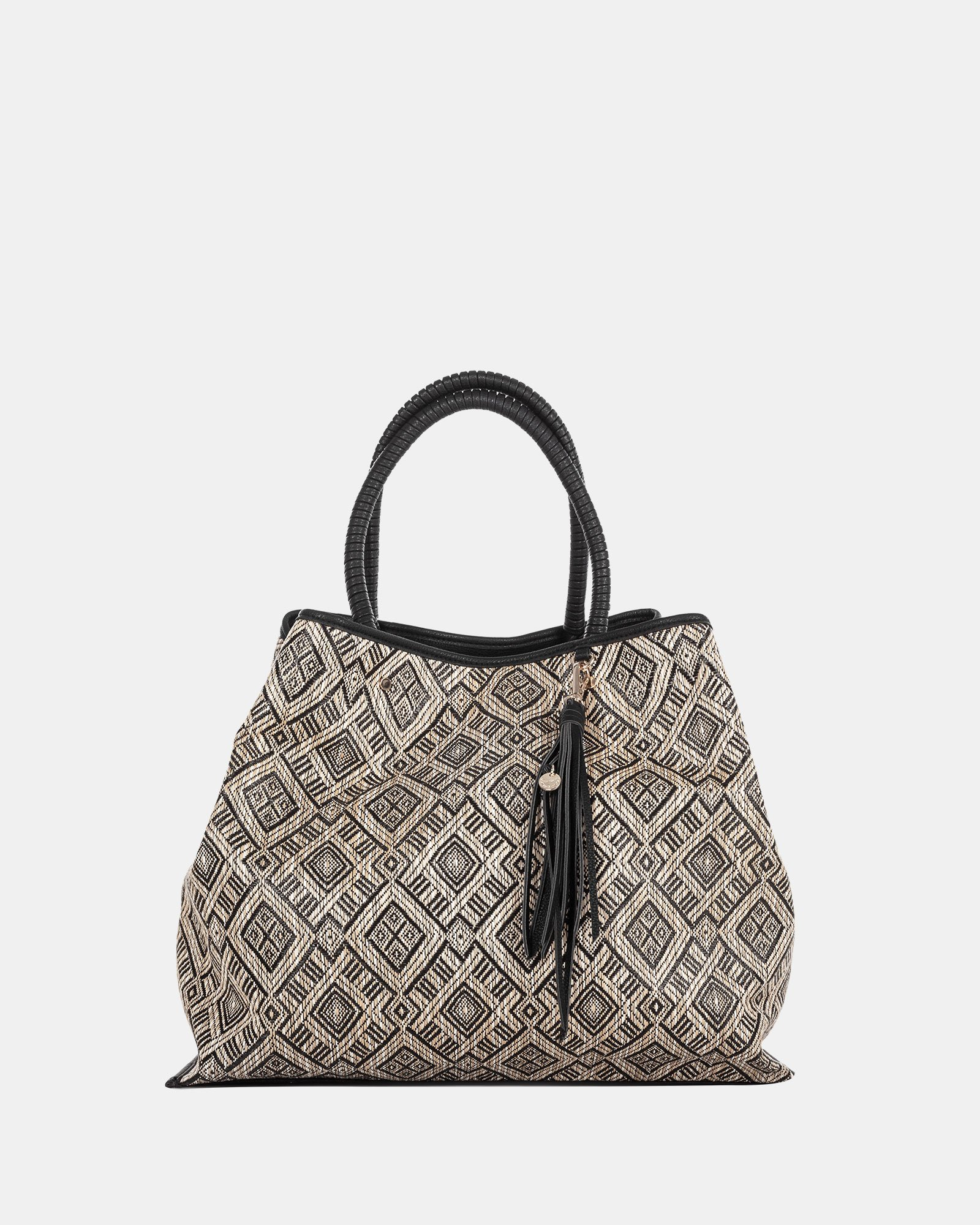 Andare - Tote bag in Patterned straw and leather-like  - Black - Céline Dion - Zoom