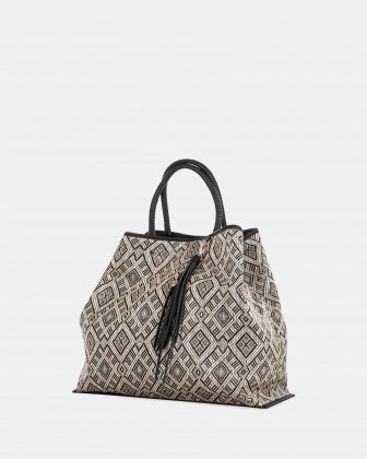 Andare - Tote bag in Patterned straw and leather-like  - Black Céline Dion