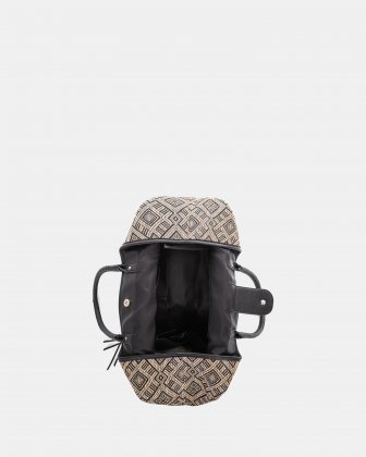 Andare - Tote bag in Patterned straw and leather-like  - Black - Céline Dion