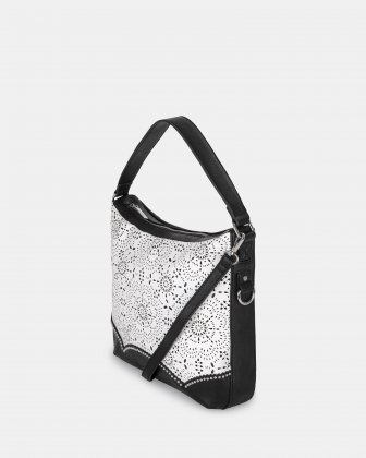 DAISY - Hobo bag with zippered compartment in faux leather - Black/white Joanel