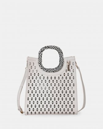 HOLLIE - Handle bag in Vegan Leather - WHITE - Joanel