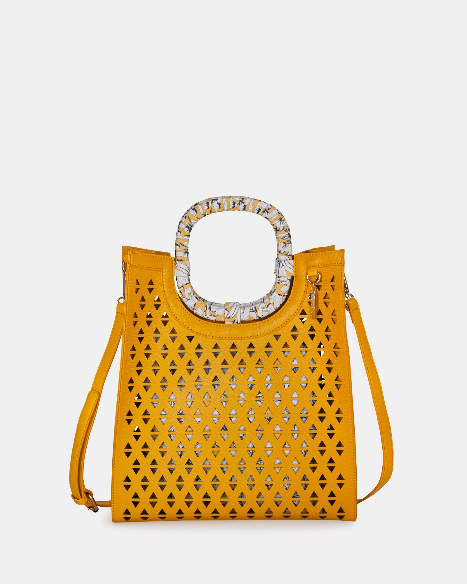 HOLLIE - Handle bag in Vegan Leather - YELLOW - Joanel - Zoom