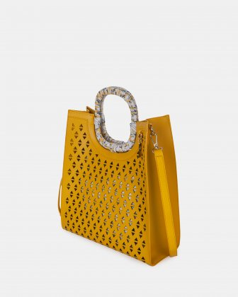HOLLIE - Handle bag in Vegan Leather - YELLOW - Joanel