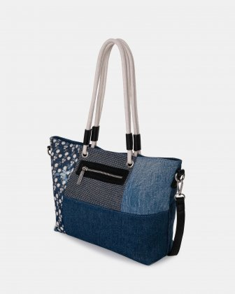 PIER39 - Tote bag with Main zippered compartment - Denim Joanel