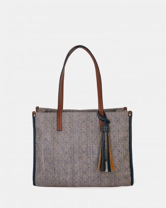IBIZA - Tote bag in straw with vegan leather trim - Black combo Joanel