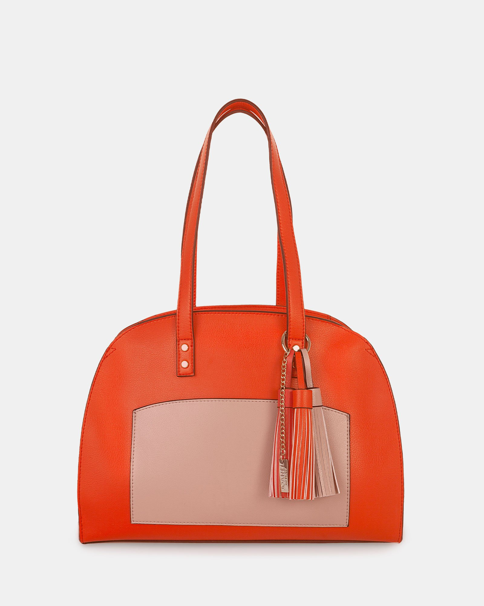 XOXO - Tote bag with Main zippered compartment - Coral combo - Joanel - Zoom