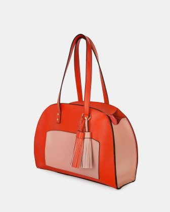 XOXO - Tote bag with Main zippered compartment - Coral combo - Joanel