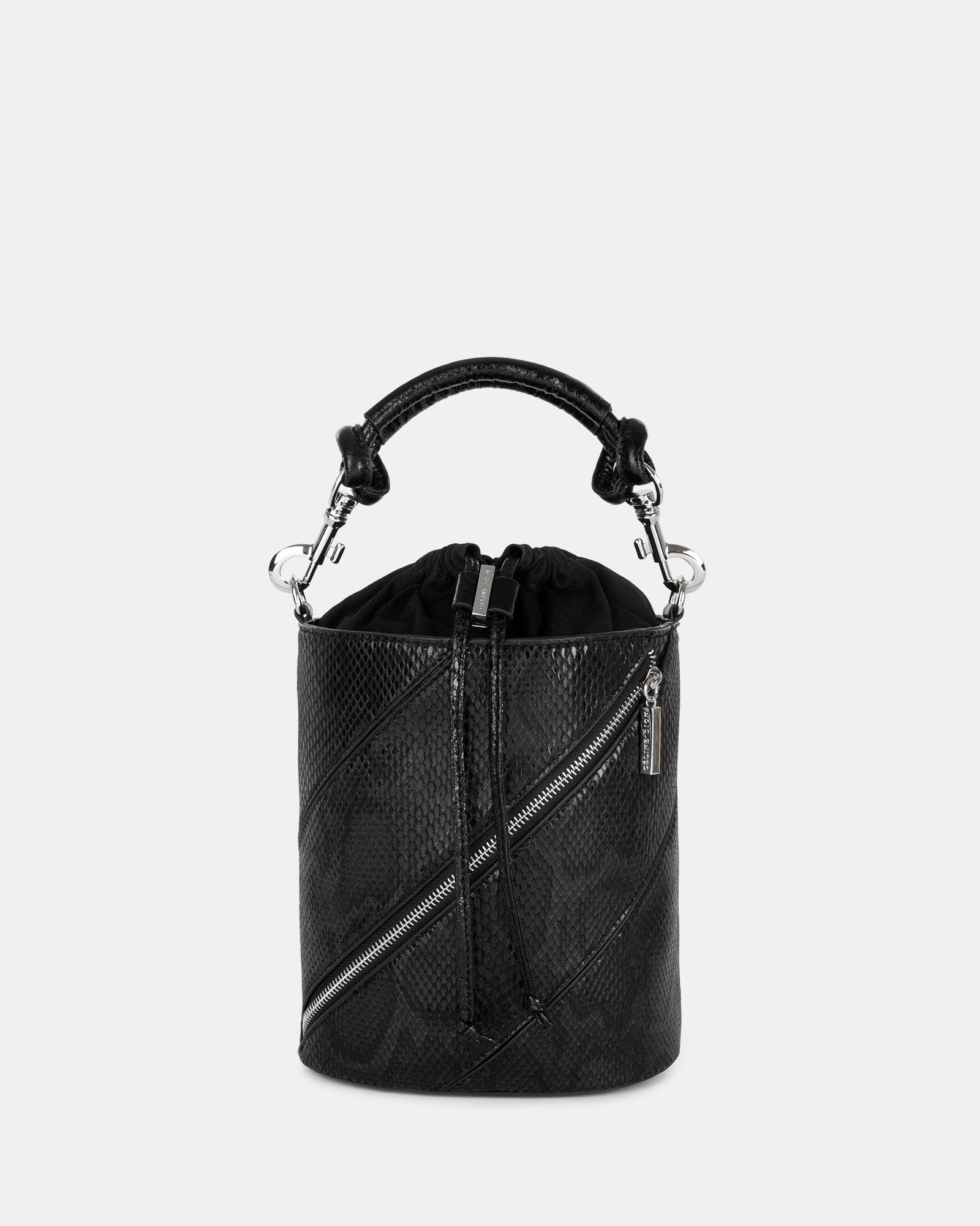 Vivo - Hobo bag Leather-like & Canvas with Adjustable and detachable crossbody strap - Black - Céline Dion - Zoom