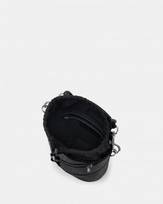 Vivo - Hobo bag Leather-like & Canvas with Adjustable and detachable crossbody strap - Black - Céline Dion