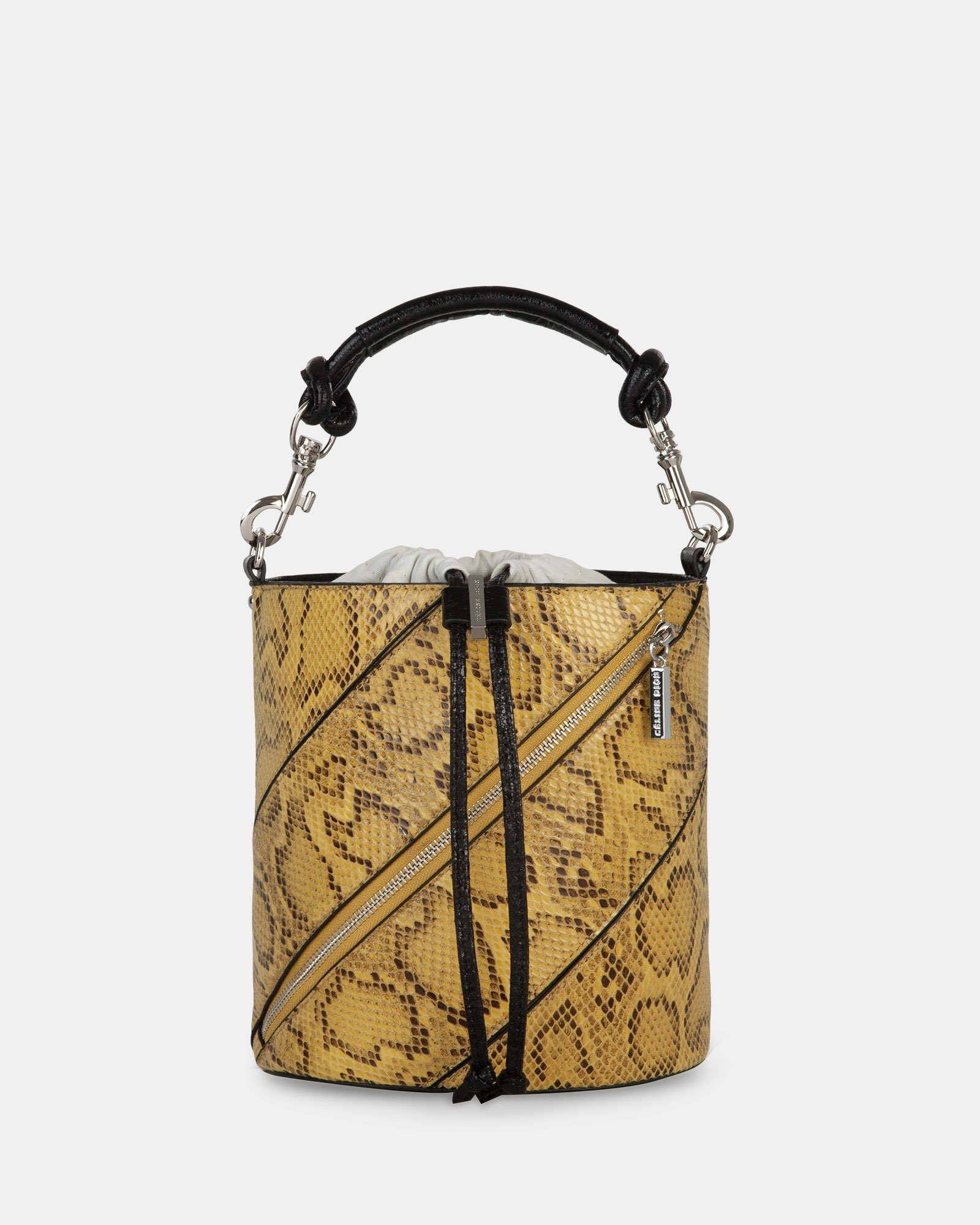 Vivo - Hobo bag Leather-like & Canvas with Adjustable and detachable crossbody strap - Yellow - Céline Dion - Zoom