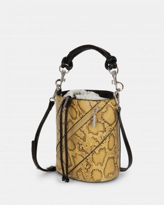 Vivo - Hobo bag Leather-like & Canvas with Adjustable and detachable crossbody strap - Yellow - Céline Dion