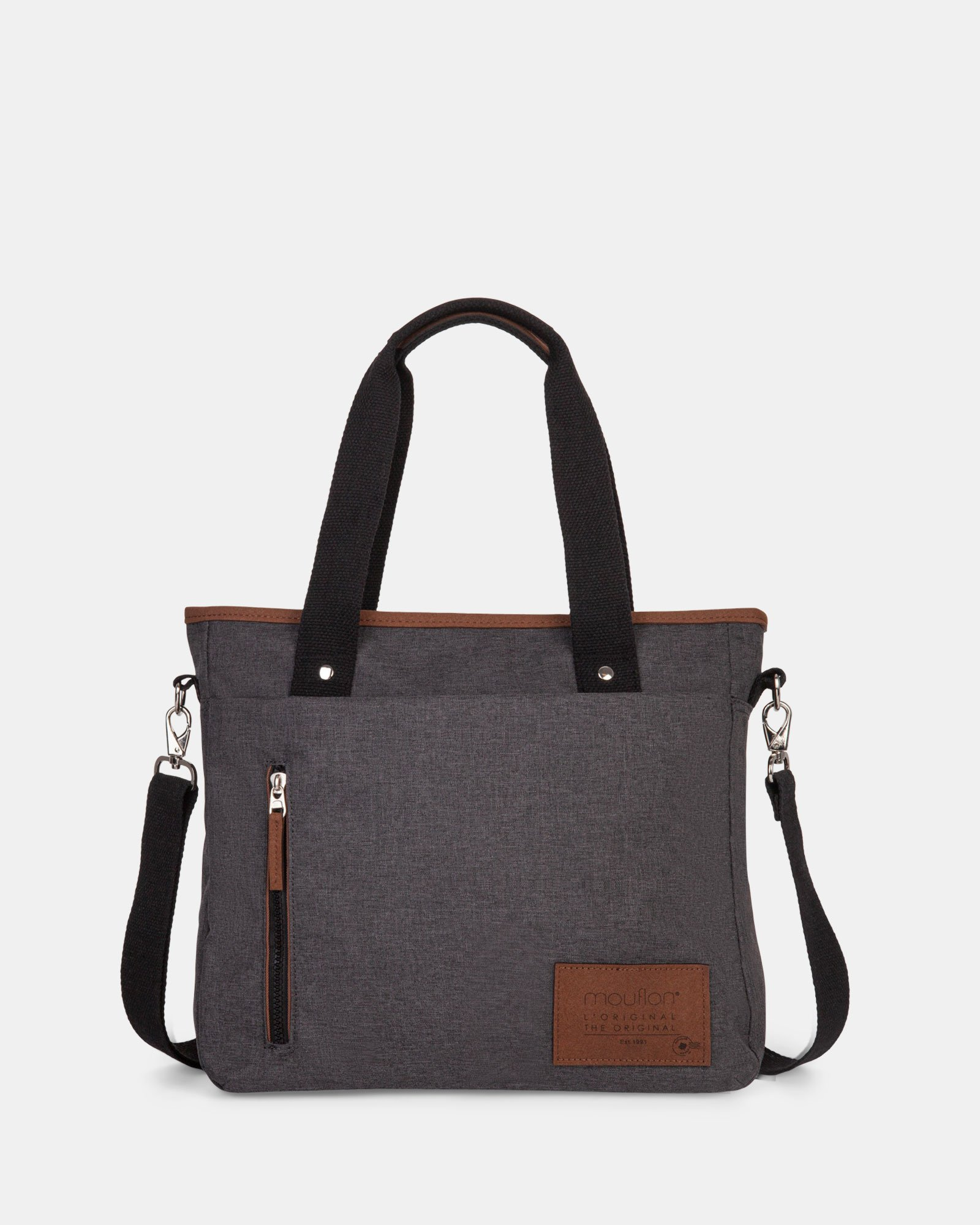 WANDER - Tote Bag with top zipper closure - Charcoal - Mouflon - Zoom