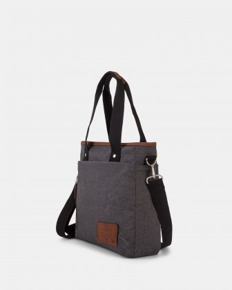 WANDER - Tote Bag with top zipper closure - Charcoal - Mouflon