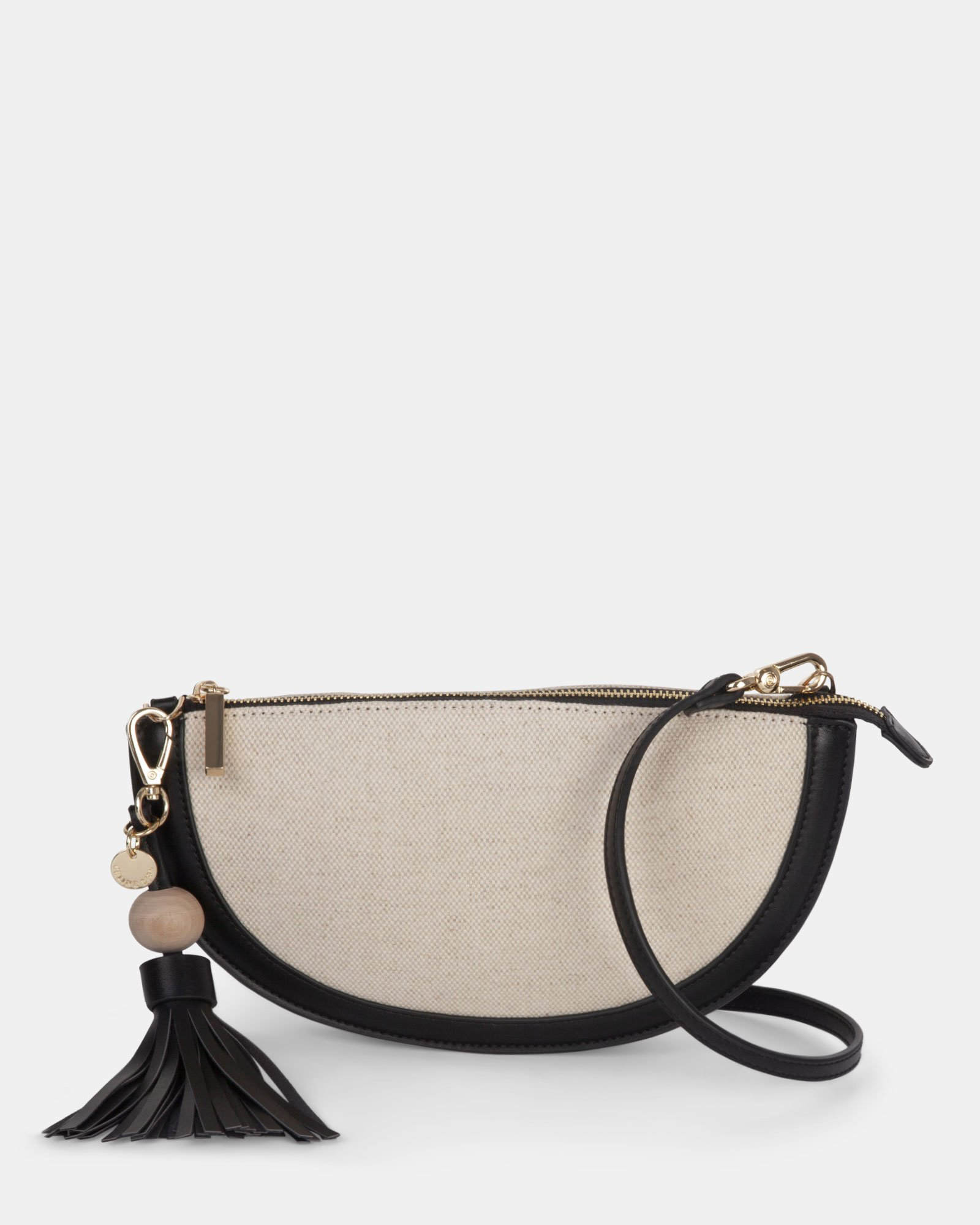 Garbo - Crossbody bag Canvas & leather-like trims - Natural/black - Céline Dion - Zoom