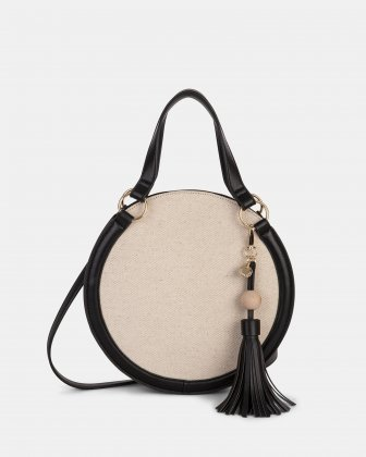 Garbo - Satchel bag Canvas & leather-like trims - Natural/Black - Céline Dion