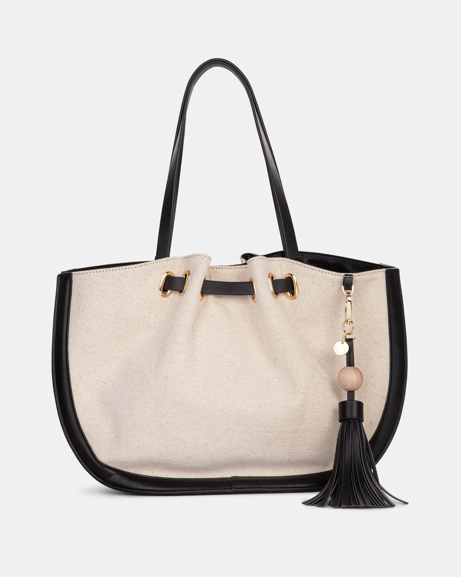 Garbo - Tote bag Canvas & leather-like trims - Natural/Black - Céline Dion - Zoom