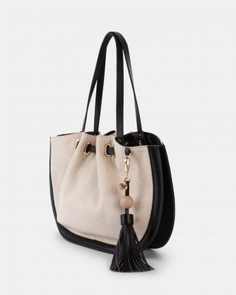 Garbo - Tote bag Canvas & leather-like trims - Natural/Black Céline Dion