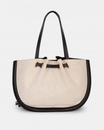 Garbo - Tote bag Canvas & leather-like trims - Natural/Black - Céline Dion