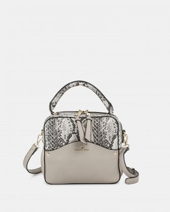 MOTIF - Handle Bag with adjustable and removable strap - LTGrey/Snake  Céline Dion