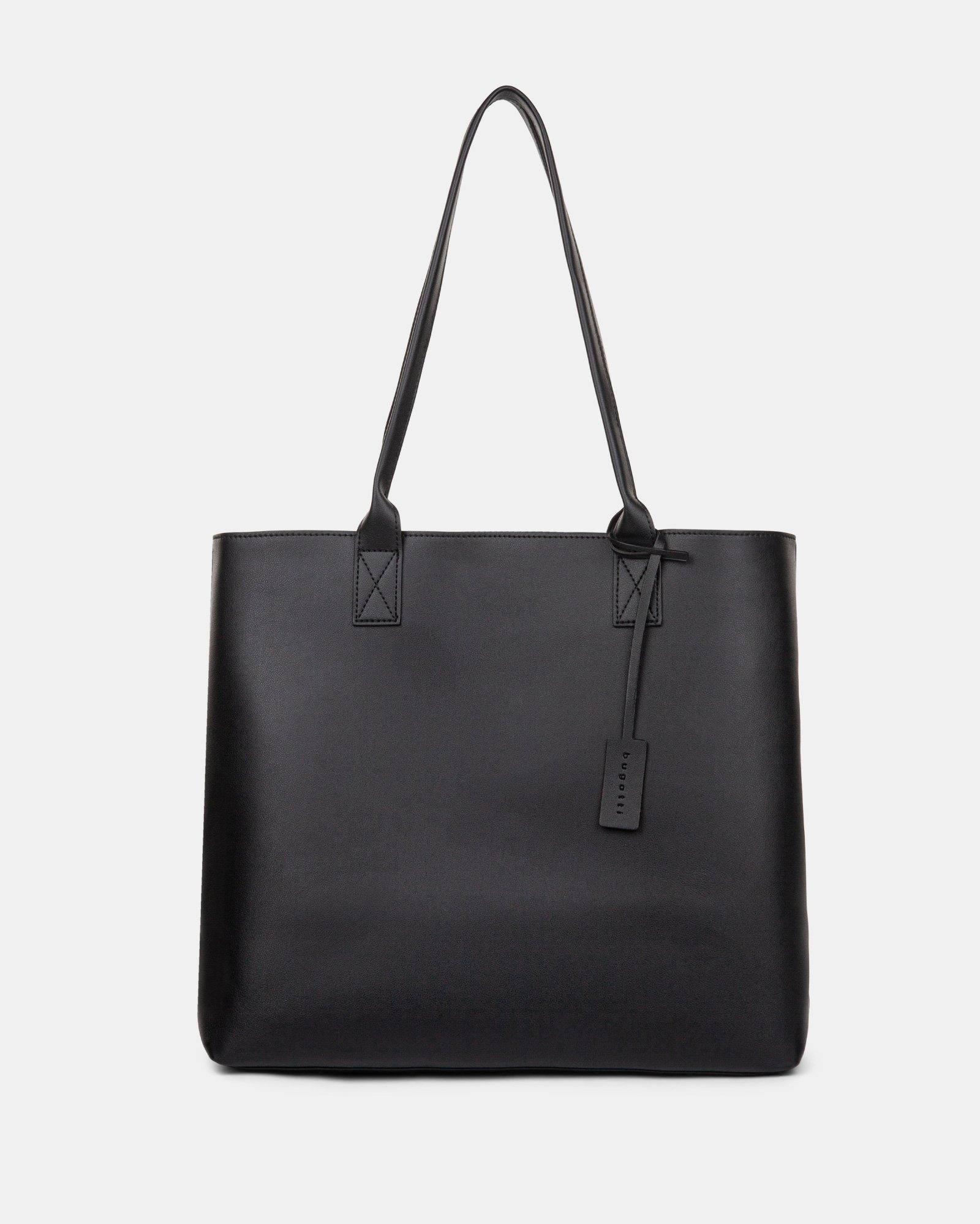 """PURE - VEGAN LEATHER BUSINESS TOTE BAG for 14"""" laptops or tablet - Black - Bugatti - Zoom"""
