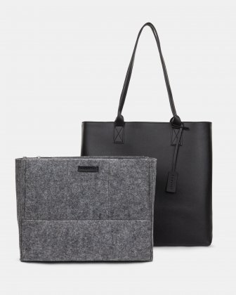 """PURE - VEGAN LEATHER BUSINESS TOTE BAG for 14"""" laptops or tablet - Black - Bugatti"""
