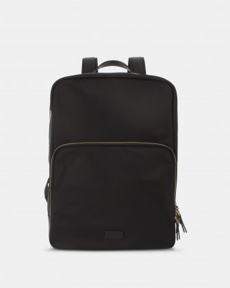 NYLON BACKPACK WITH GOLD TONE ZIPPER - BLACK Bugatti
