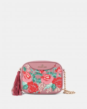 Harmonic - Rectangle crossbody in Soft leather with embroidery - Pink Céline Dion